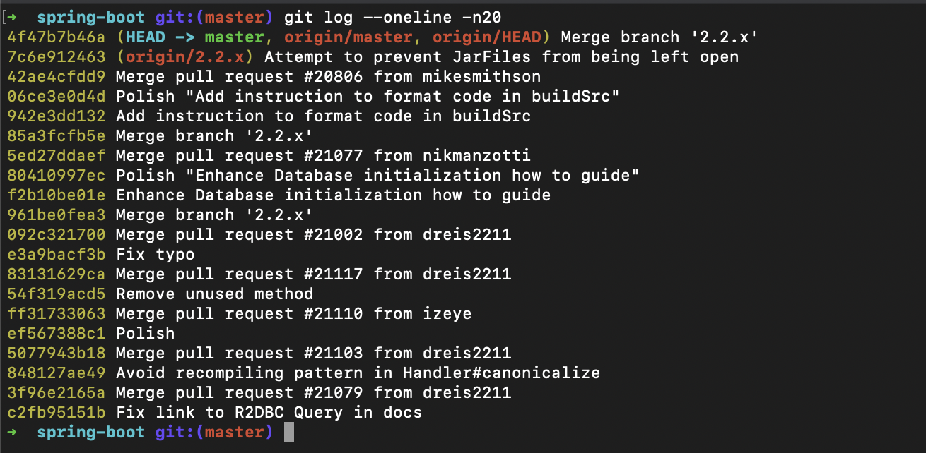 Git Log --oneline
